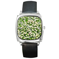 Green Field Of White Daisy Flowers Square Metal Watch by FunnyCow