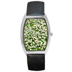 Green Field Of White Daisy Flowers Barrel Style Metal Watch by FunnyCow
