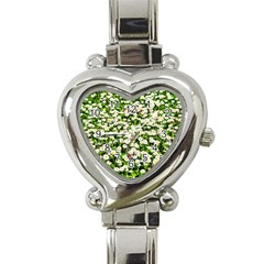 Green Field Of White Daisy Flowers Heart Italian Charm Watch by FunnyCow