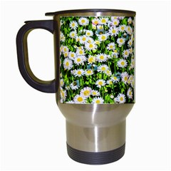 Green Field Of White Daisy Flowers Travel Mugs (white) by FunnyCow