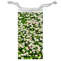 Green Field Of White Daisy Flowers Jewelry Bags by FunnyCow