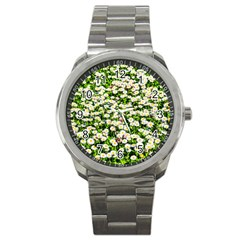 Green Field Of White Daisy Flowers Sport Metal Watch by FunnyCow