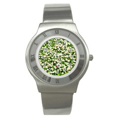 Green Field Of White Daisy Flowers Stainless Steel Watch by FunnyCow