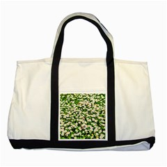 Green Field Of White Daisy Flowers Two Tone Tote Bag by FunnyCow