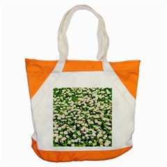 Green Field Of White Daisy Flowers Accent Tote Bag by FunnyCow