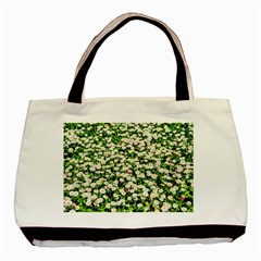 Green Field Of White Daisy Flowers Basic Tote Bag (two Sides) by FunnyCow