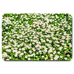 Green Field Of White Daisy Flowers Large Doormat
