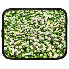 Green Field Of White Daisy Flowers Netbook Case (large) by FunnyCow