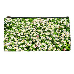 Green Field Of White Daisy Flowers Pencil Cases by FunnyCow