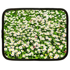 Green Field Of White Daisy Flowers Netbook Case (xl)  by FunnyCow