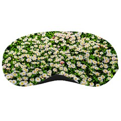 Green Field Of White Daisy Flowers Sleeping Masks by FunnyCow