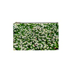 Green Field Of White Daisy Flowers Cosmetic Bag (small) by FunnyCow