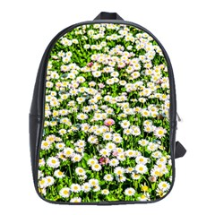 Green Field Of White Daisy Flowers School Bag (large) by FunnyCow