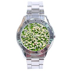 Green Field Of White Daisy Flowers Stainless Steel Analogue Watch by FunnyCow
