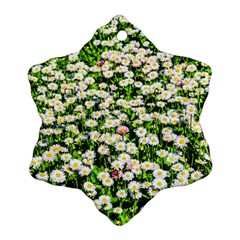 Green Field Of White Daisy Flowers Snowflake Ornament (two Sides) by FunnyCow