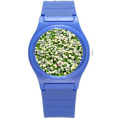 Green Field Of White Daisy Flowers Round Plastic Sport Watch (s) by FunnyCow