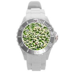 Green Field Of White Daisy Flowers Round Plastic Sport Watch (l) by FunnyCow