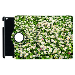 Green Field Of White Daisy Flowers Apple Ipad 2 Flip 360 Case by FunnyCow