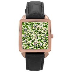 Green Field Of White Daisy Flowers Rose Gold Leather Watch  by FunnyCow