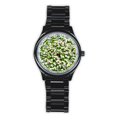 Green Field Of White Daisy Flowers Stainless Steel Round Watch by FunnyCow