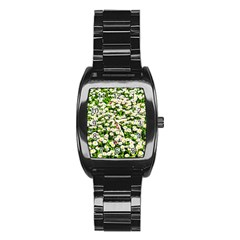 Green Field Of White Daisy Flowers Stainless Steel Barrel Watch by FunnyCow