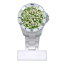 Green Field Of White Daisy Flowers Plastic Nurses Watch by FunnyCow