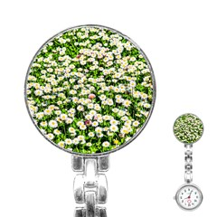 Green Field Of White Daisy Flowers Stainless Steel Nurses Watch by FunnyCow