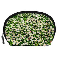 Green Field Of White Daisy Flowers Accessory Pouches (large)  by FunnyCow
