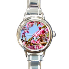 Crab Apple Blossoms Round Italian Charm Watch by FunnyCow
