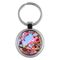 Crab Apple Blossoms Key Chains (round)  by FunnyCow