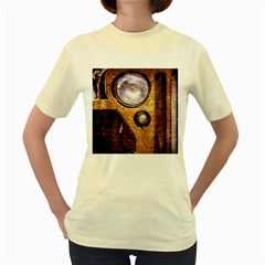 Vintage Off Roader Car Headlight Women s Yellow T Shirt by FunnyCow