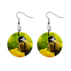 Tomtit Bird Dressed To The Season Mini Button Earrings by FunnyCow