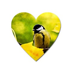 Tomtit Bird Dressed To The Season Heart Magnet by FunnyCow