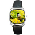 Tomtit Bird Dressed To The Season Square Metal Watch Front