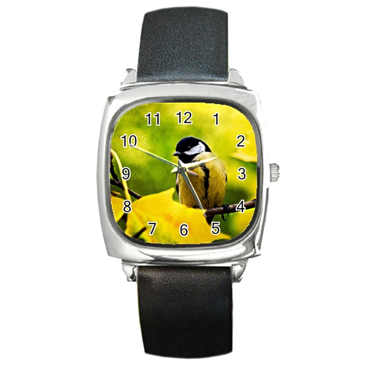 Tomtit Bird Dressed To The Season Square Metal Watch
