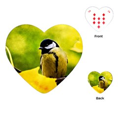 Tomtit Bird Dressed To The Season Playing Cards (heart)  by FunnyCow