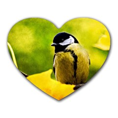 Tomtit Bird Dressed To The Season Heart Mousepads by FunnyCow