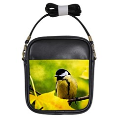 Tomtit Bird Dressed To The Season Girls Sling Bags by FunnyCow