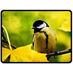Tomtit Bird Dressed To The Season Double Sided Fleece Blanket (large)  by FunnyCow