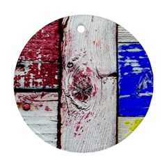 Abstract Art Of Grunge Wood Round Ornament (two Sides) by FunnyCow