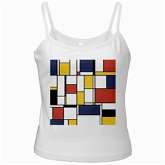 De Stijl Abstract Art White Spaghetti Tank by FunnyCow