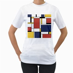 Abstract Art Of De Stijl Women s T Shirt (white) (two Sided)
