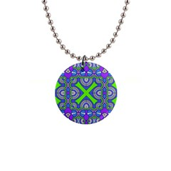 Purple Green Shapes                                        1  Button Necklace by LalyLauraFLM