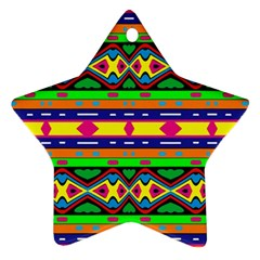 Distorted Colorful Shapes And Stripes                                         Ornament (star)
