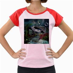 Wonderful Orca In Deep Underwater World Women s Cap Sleeve T Shirt by FantasyWorld7