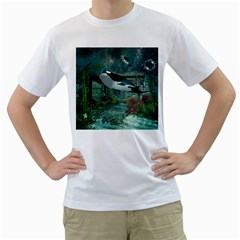 Wonderful Orca In Deep Underwater World Men s T Shirt (white) (two Sided)