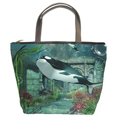 Wonderful Orca In Deep Underwater World Bucket Bags by FantasyWorld7