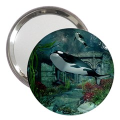 Wonderful Orca In Deep Underwater World 3  Handbag Mirrors by FantasyWorld7