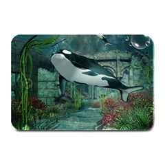 Wonderful Orca In Deep Underwater World Plate Mats by FantasyWorld7