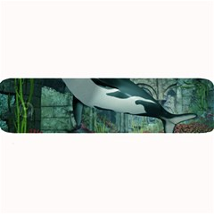 Wonderful Orca In Deep Underwater World Large Bar Mats by FantasyWorld7